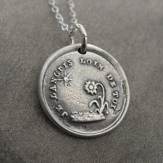 Wax Seal Necklace Sun Flower - antique wax seal charm jewelry French motto I Languish Without You love message