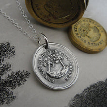 Load image into Gallery viewer, In Vain Destiny Separates Us Wax Seal Necklace - tree wax seal jewelry charm with French motto - RQP Studio