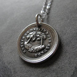 In Vain Destiny Separates Us Wax Seal Necklace - tree wax seal jewelry charm with French motto