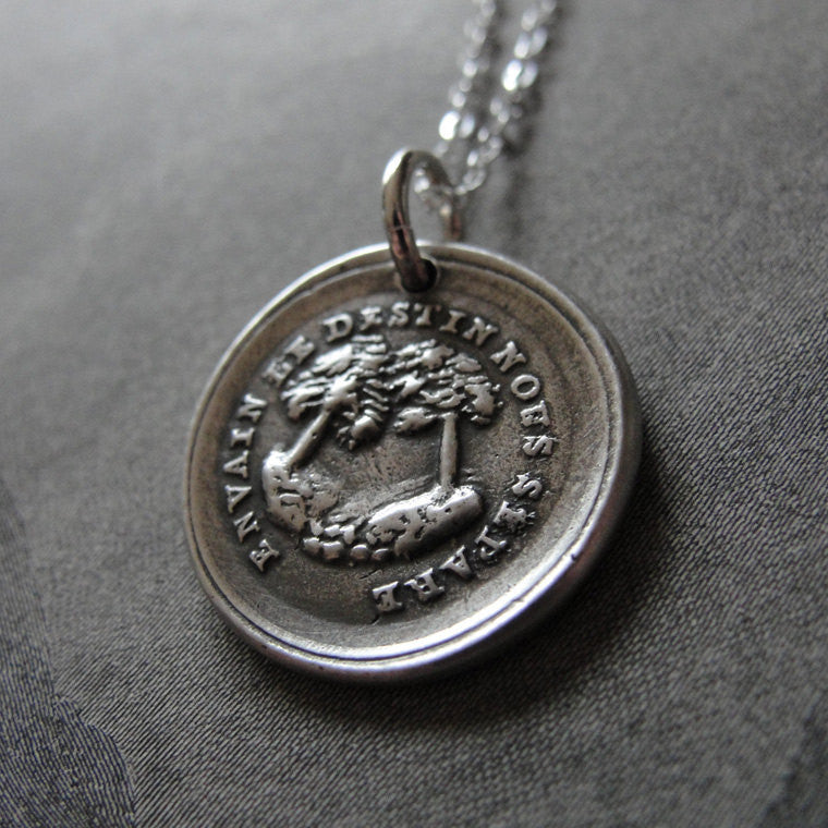 In Vain Destiny Separates Us Wax Seal Necklace - tree wax seal jewelry charm with French motto - RQP Studio