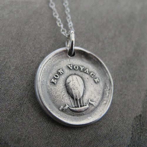 Good Journey Wax Seal Necklace - Hot Air Balloon antique wax seal jewelry Bon Voyage - RQP Studio