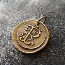 Load image into Gallery viewer, Wax Seal Charm Initial P - wax seal jewelry pendant alphabet charms Letter P - RQP Studio