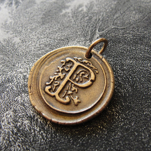 Wax Seal Charm Initial P - wax seal jewelry pendant alphabet charms Letter P - RQP Studio