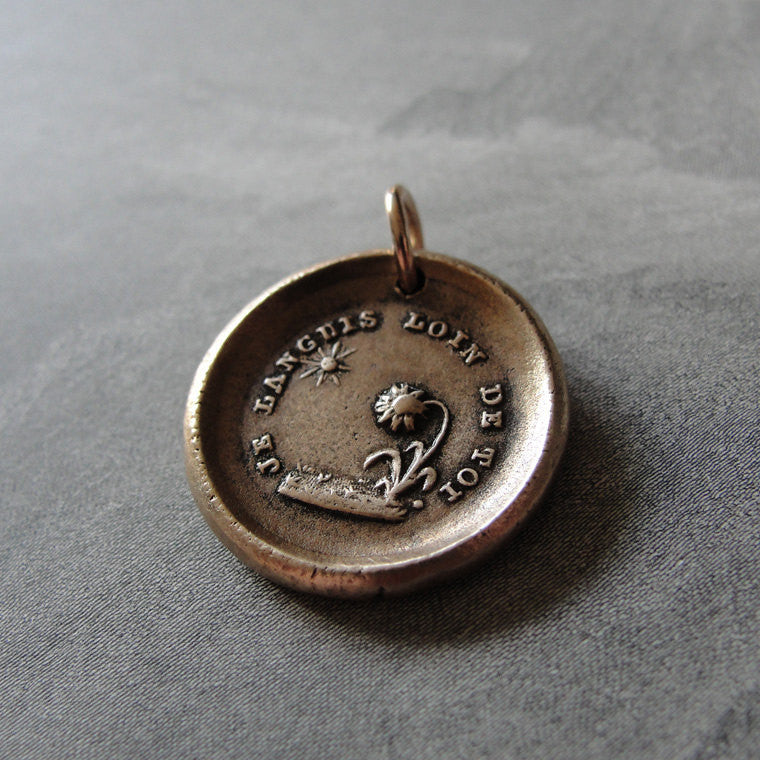 Wax Seal Charm Sun Flower - antique wax seal jewelry French love motto I Languish Without You - RQP Studio