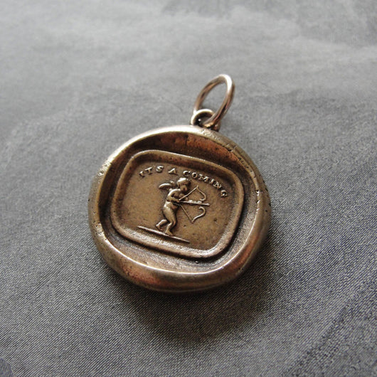 Wax Seal Charm Cupid Love - antique wax seal jewelry pendant Love Takes Aim