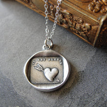 Load image into Gallery viewer, Wax Seal Necklace Pierced Heart - antique wax seal charm jewelry French motto Lovestruck Hit by Love - RQP Studio