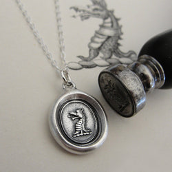 Dragon Wax Seal Necklace - Protection antique wax seal charm jewelry