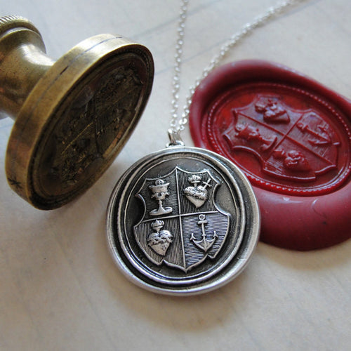 Love Hope Faith - Wax Seal Necklace christian anchor sacred heart chalice - shield wax seal charm jewelry - RQP Studio