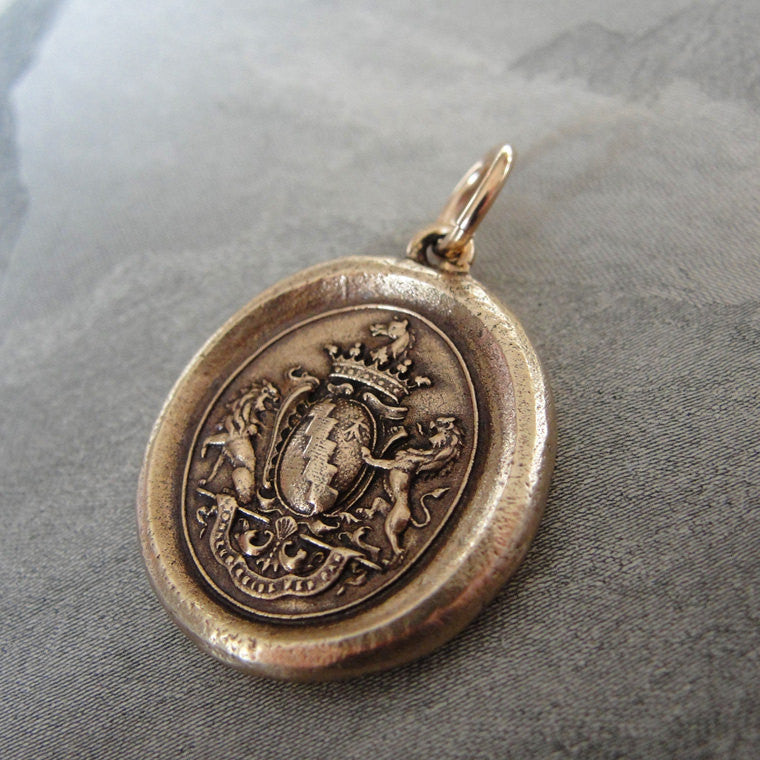 Honor Guide My Steps - wax seal charm with armorial crest and rampant lions - antique wax seal jewelry in bronze - RQP Studio