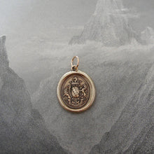 Load image into Gallery viewer, Honor Guide My Steps - wax seal charm with armorial crest and rampant lions - antique wax seal jewelry in bronze - RQP Studio