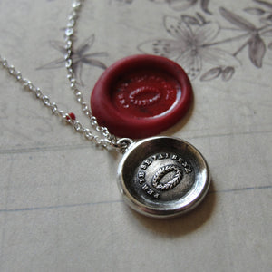 Encouragement Wax Seal Necklace - antique wax seal charm jewelry with Italian Triumph Victory motto Laurel Wreath - RQP Studio