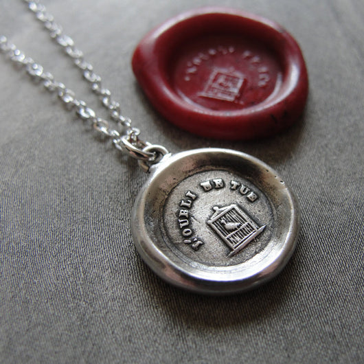 Don't Forget Me - Wax Seal Necklace bird in birdcage - antique wax seal charm jewelry French motto Remember Me
