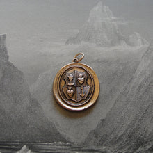 Load image into Gallery viewer, Love Hope Faith Wax Seal Pendant anchor sacred heart chalice - wax seal jewelry charm in bronze - RQP Studio