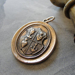 Love Hope Faith Wax Seal Pendant anchor sacred heart chalice - wax seal jewelry charm in bronze
