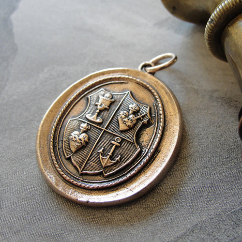 Love Hope Faith Wax Seal Pendant anchor sacred heart chalice - wax seal jewelry charm in bronze - RQP Studio