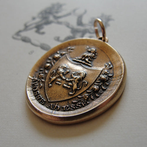Bronze Wax Seal Pendant With Rampant Lion - From Possibility To Actuality - Aposse Ad Esse - RQP Studio