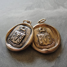 Load image into Gallery viewer, Yield Not To Misfortunes - Wax Seal Pendant Lion Crest Charm antique wax seal jewelry with Latin motto by RQP Studio - RQP Studio