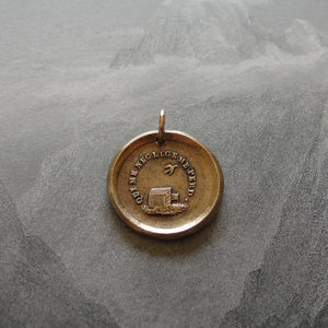 Bronze Wax Seal Pendant - Who Neglects Me Loses Me - RQP Studio