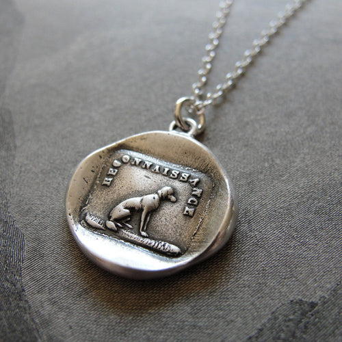 Gratitude Thankfulness Wax Seal Necklace Dog - antique wax seal jewelry - RQP Studio