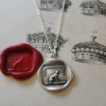 Load image into Gallery viewer, Gratitude Thankfulness Wax Seal Necklace Dog - antique wax seal jewelry - RQP Studio