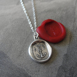 Wax Seal Necklace Anchor - antique wax seal charm jewelry Hope Consoles