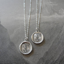 Load image into Gallery viewer, Wax Seal Necklace Anchor - antique wax seal charm jewelry Hope Consoles - RQP Studio