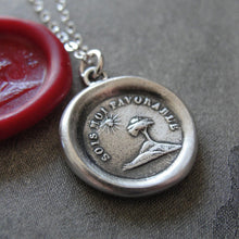 Load image into Gallery viewer, Wax Seal Necklace You Are My Sunshine - antique wax seal charm jewelry Tree and Sun - RQP Studio