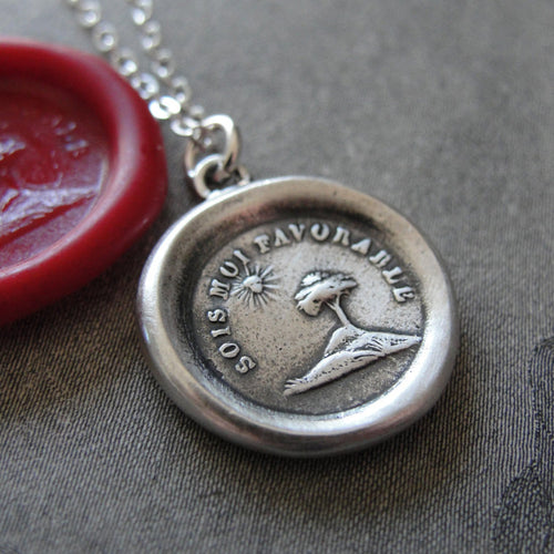Wax Seal Necklace You Are My Sunshine - antique wax seal charm jewelry Tree and Sun - RQP Studio