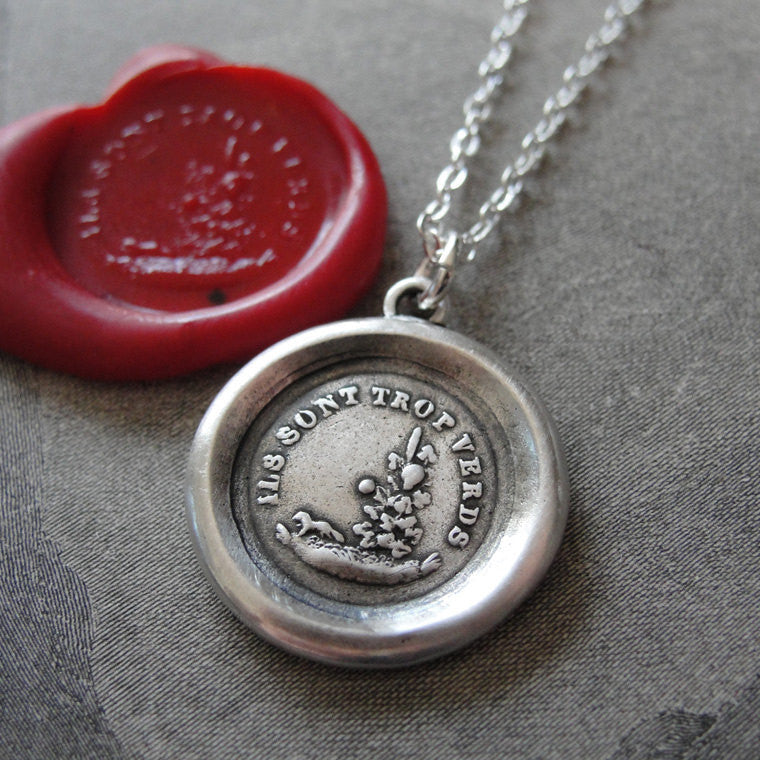 Aesop Fable Wax Seal Necklace Fox and Grapes - antique wax seal charm jewelry French motto Sour Grapes - RQP Studio