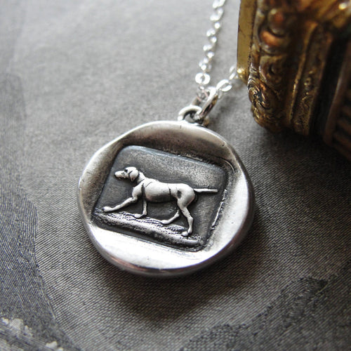 Dog Wax Seal Necklace - antique French wax seal charm jewelry with hunting dog canine - RQP Studio