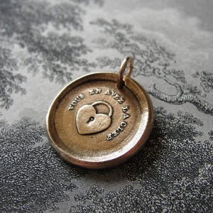 Wax Seal Charm Key To My Heart - antique French wax seal charm jewelry padlock -You Have The Key - RQP Studio