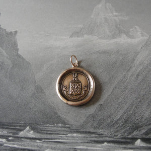 Bronze Wax Seal Pendant - Be Just And Fear Not - RQP Studio