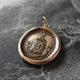 Wax Seal Pendant Be Just And Fear Not - antique wax seal jewelry charm Fearless Crest Motto by RQP Studio