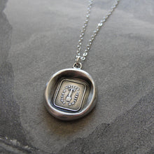 Load image into Gallery viewer, Wax Seal Necklace Fortitude Constancy - antique wax seal charm jewelry with pillar and motto Secure Whilst Upright by RQP Studio - RQP Studio