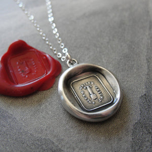 Wax Seal Necklace Fortitude Constancy - antique wax seal charm jewelry with pillar and motto Secure Whilst Upright by RQP Studio - RQP Studio