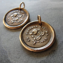 Load image into Gallery viewer, Thy Sweetness Wax Seal Charm - antique wax seal jewelry pendant butterfly and rose French love motto - RQP Studio