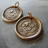 Thy Sweetness Wax Seal Charm - antique wax seal jewelry pendant butterfly and rose French love motto