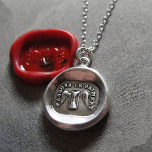 Wax Seal Necklace Carpe Diem Hourglass - antique wax seal charm jewelry Be Happy Time motto Spend It Cheerfully by RQP Studio - RQP Studio