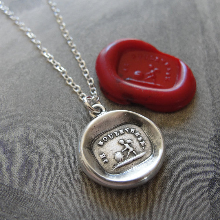 Wax Seal Necklace Love Cupid - antique wax seal charm jewelry French motto Love Turns World Upside Down - RQP Studio