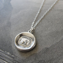 Load image into Gallery viewer, Wax Seal Necklace Love Cupid - antique wax seal charm jewelry French motto Love Turns World Upside Down - RQP Studio