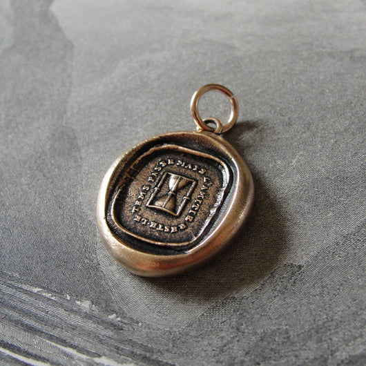 Hourglass Wax Seal Pendant - antique wax seal charm jewelry motto Time Passes But The Friendship Remain