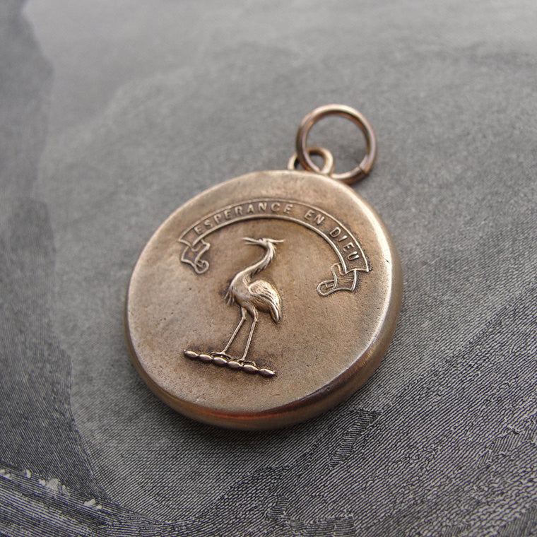 Bronze Wax Seal Pendant - Hope In God - Heron Bird - RQP Studio