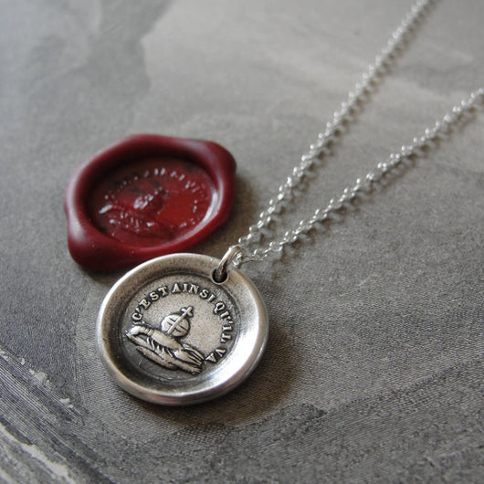 Wax Seal Necklace Have Faith - antique wax seal jewelry globus cruciger French Stay Positive motto