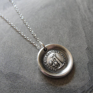 Wax Seal Necklace Rather Break Than Bend - antique wax seal charm jewelry Steadfast Tree - RQP Studio