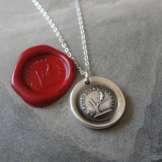 Night Teaches Wisdom Wax Seal Necklace - owl on branch antique French wax seal charm jewelry