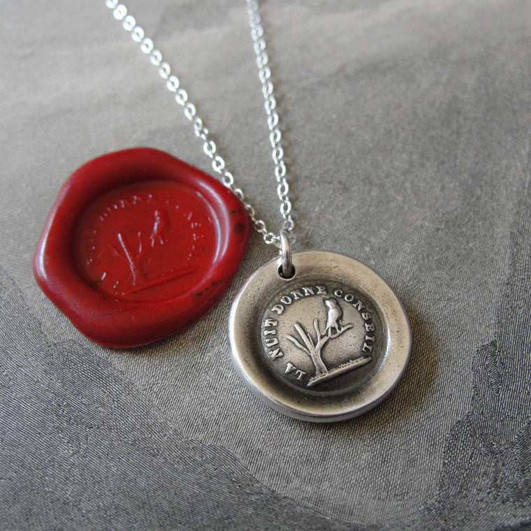Night Teaches Wisdom Wax Seal Necklace - owl on branch antique French wax seal charm jewelry - RQP Studio