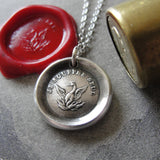 Phoenix Wax Seal Necklace Rise Again antique wax seal charm jewelry French motto I Suffer Alone