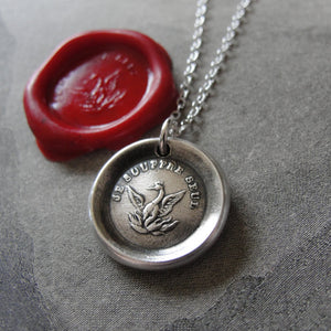 Phoenix Wax Seal Necklace Rise Again antique wax seal charm jewelry French motto I Suffer Alone - RQP Studio
