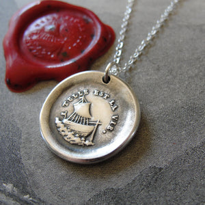 Such Is Life Wax Seal Necklace - Ship - antique Wax Seal Charm Jewelry - French motto sailboat nautical - RQP Studio