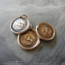 Load image into Gallery viewer, Horse Wax Seal Charm High Spirited - antique wax seal jewelry pendant Equestrian Horse Rearing - RQP Studio